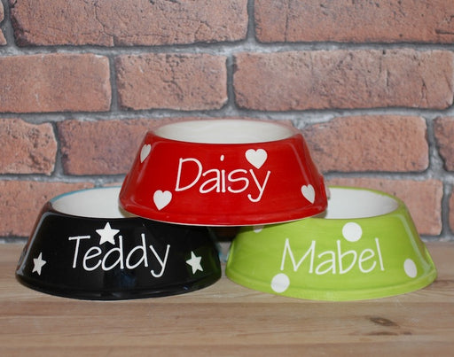 Personalised Polka Design Slanted Dog Bowl - Crazy Fur You - My Pet Gift Box