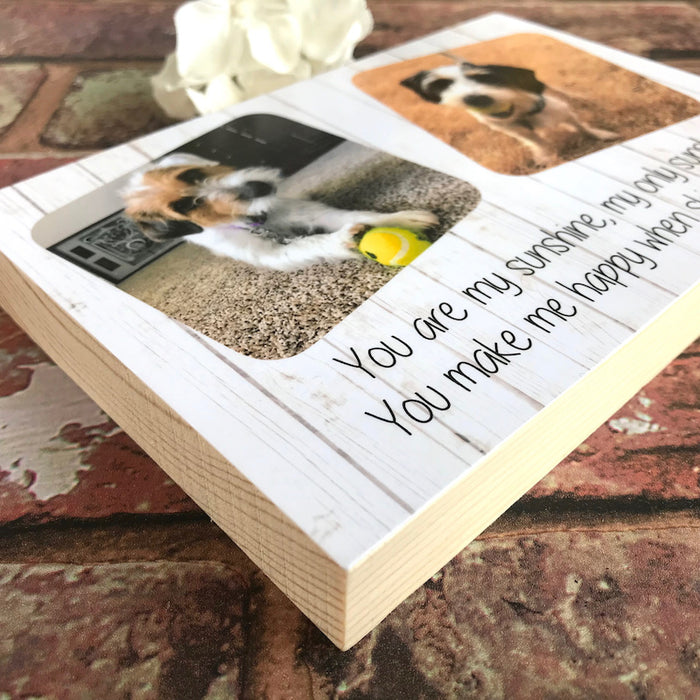 Personalised Pine Pet Photo Block - Harts Craft - My Pet Gift Box
