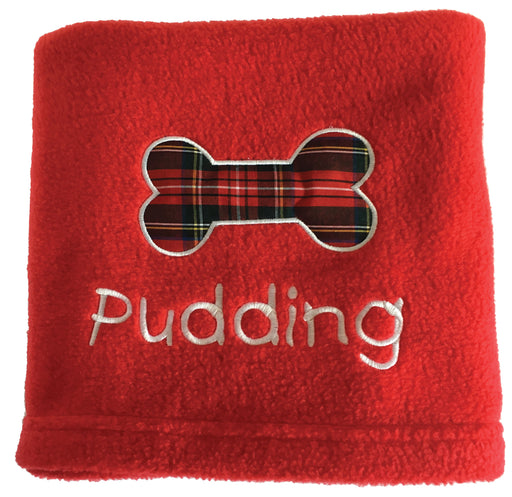 Personalised Dog Blanket with Red Tartan Bone - My Posh Paws - My Pet Gift Box