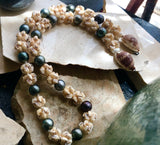 #15  2020 HOLIDAY: NIIHAU + TAHITIAN PEARL CROWNFLOWER CHOKER