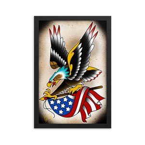 Framed Print Eagle and Flag 12x18