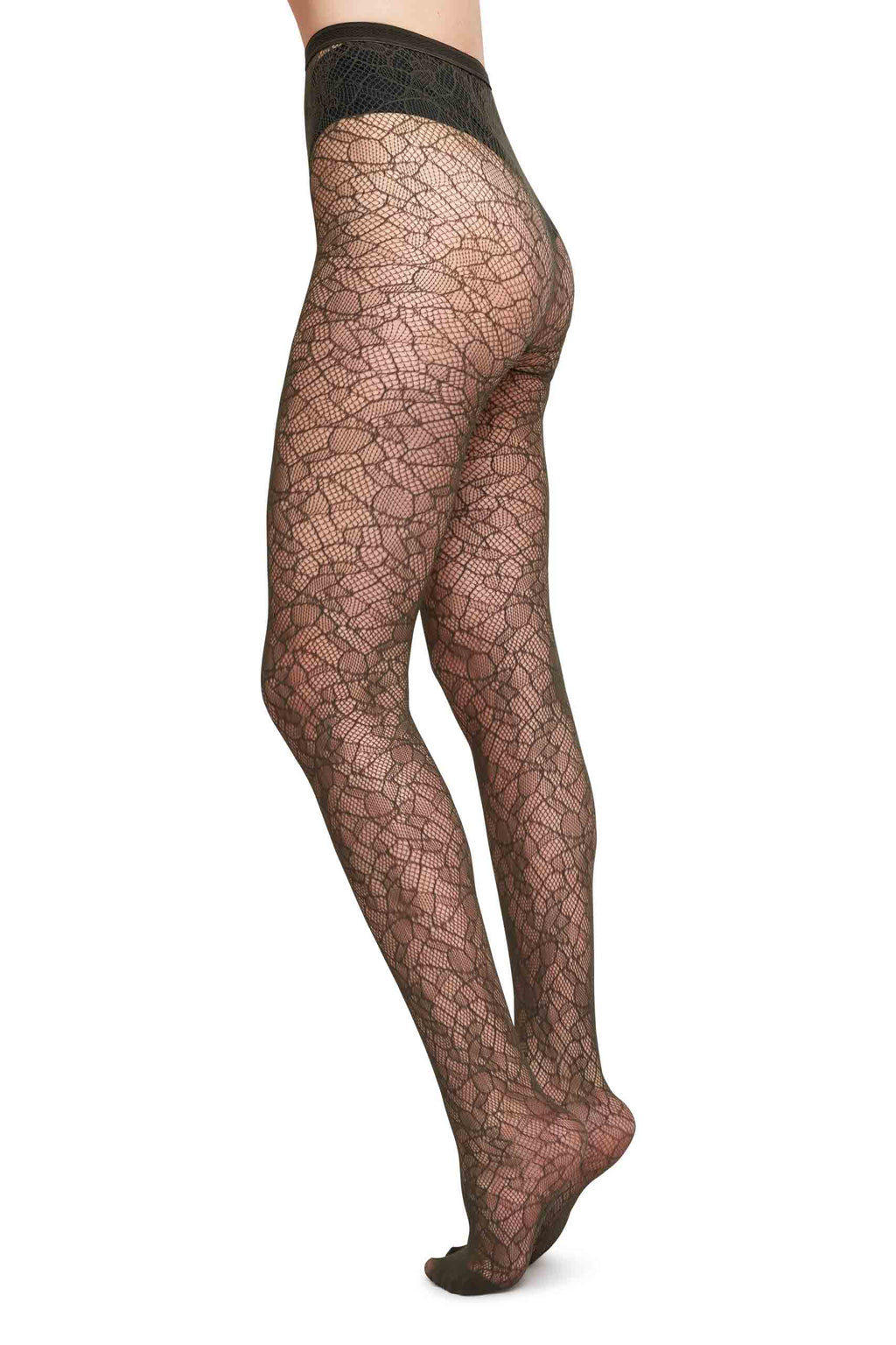 Edith Lace Tights | Dark Olive