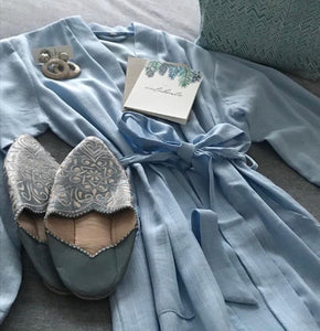 Jade and May, Jade and May Classic Linen Kimono Dressing Gown, Baby Blue, Sleepwear, Moroccan Leather Slide On Slippers, Ochre Ceramic Earrings, Sophie Young Creative Watercolour Greeting Card