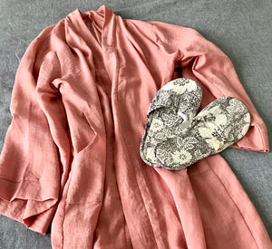 Jade and May, Jade and May Kimono Dressing Gown, Sleepwear and Nightwear, Pink Linen Dressing Gown, Hand printed Cotton Slide on Slippers, Loungewear, Gifts for her, Presents for Women,