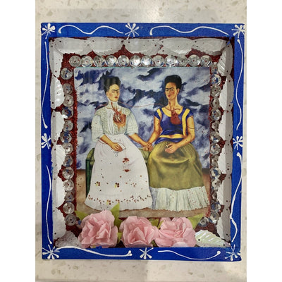 2 Fridas Wooden Nicho Box | Mexican Folkart -Art- Jade and May