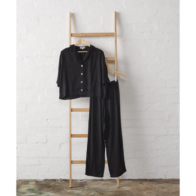 Bamboo Satin 3/4 Cropped Button Up + Classic Pant Set in Black | Jade and May -Pajamas- Jade and May