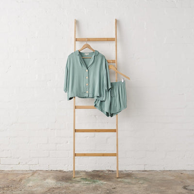 Bamboo Satin 3/4 Cropped Button Up + Short PJ Set in Sage Green | Jade and May -Pajamas- Jade and May
