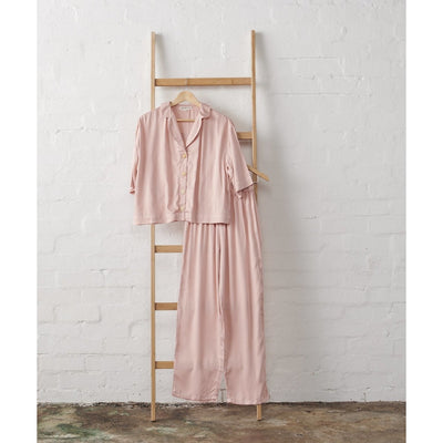 Bamboo Satin 3/4 Length Cropped Button Up + Classic Pant Set in Dusky Rose | Jade and May -Pajamas- Jade and May