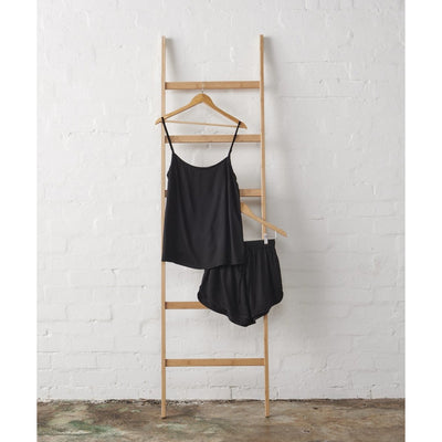 Bamboo Satin Cami and Short Set in Black | Jade and May -Pajamas- Jade and May