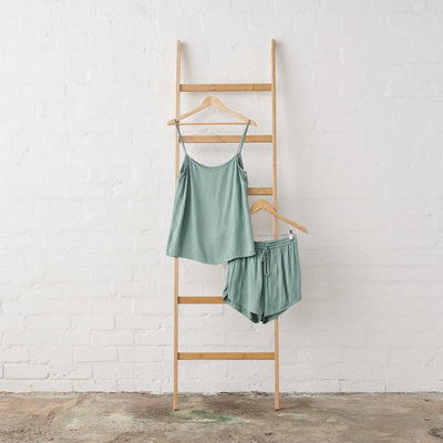 Bamboo Satin Cami and Short Set in Sage Green | Jade and May -Pajamas- Jade and May