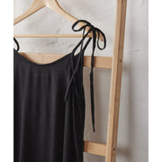 Black Bamboo Satin Strappy Nightie | Jade and May -Nightie- Jade and May