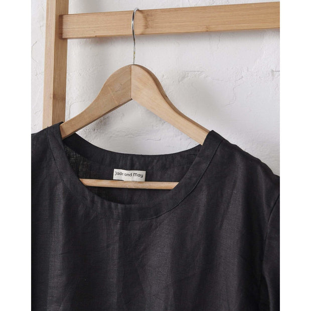 Black Boxy Linen Pajama Top | Jade and May -Pajamas- Jade and May