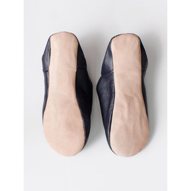 Black Leather Moroccan Babouche Slippers -Slippers- Jade and May