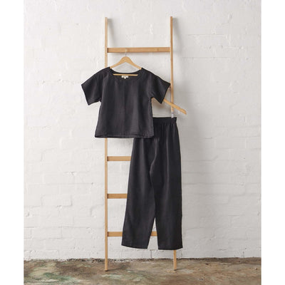 Black Linen Boxy Tee and Extra Length Pant Set | Jade and May -Pajamas- Jade and May