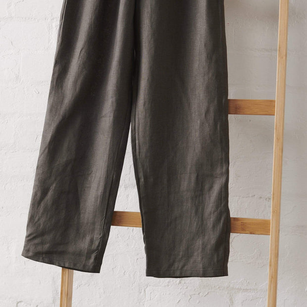 Charcoal Linen PJ Pant - Long Length | Jade and May -Pajamas- Jade and May