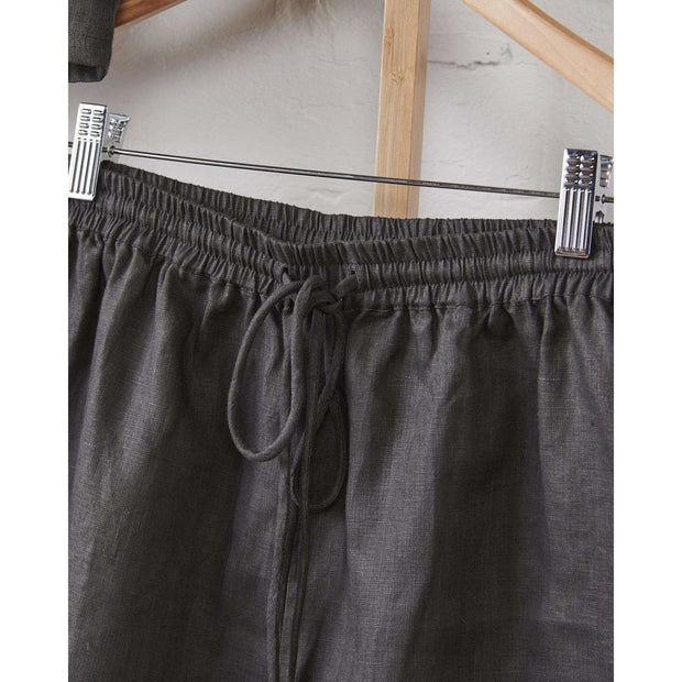 Charcoal Relaxed Linen Shorts | Jade and May -Pajamas- Jade and May
