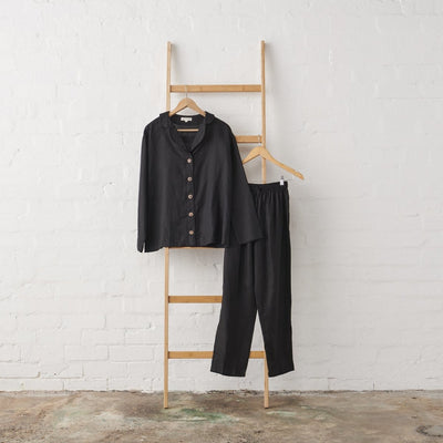 Classic PJ Set in extra length pant in Black Linen | Jade and May -Pajamas- Jade and May