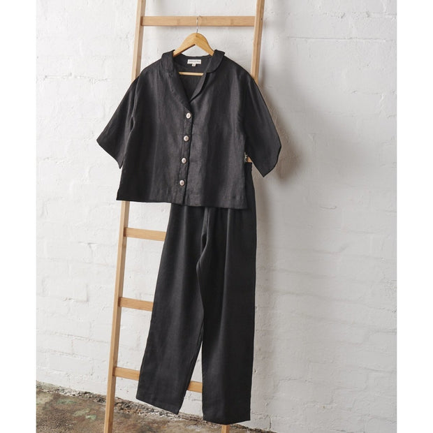 Cropped Button Up PJ Top and Classic PJ Pant set in Black Linen | Jade and May -Pajamas- Jade and May