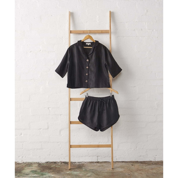 Cropped Button Up PJ Top and Short set in Black Linen | Jade and May -Pajamas- Jade and May