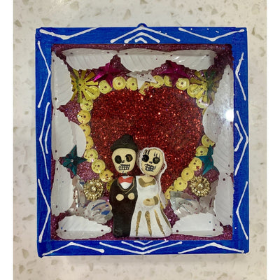Day of the Dead Bride and Groom Wooden Nicho Box | Mexican Folkart -Art- Jade and May