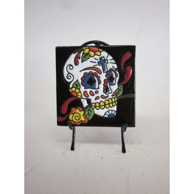 Day of the Dead Skull on Stand | Mexican Folk Art -Tile- Jade and May