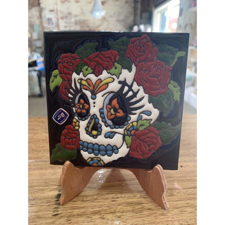 Day of the Dead Skull Tile on Stand | Mexican Folk Art -Tile- Jade and May