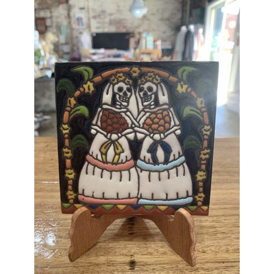 Day of the Dead Two Brides on Stand | Mexican Folk Art -Tile- Jade and May