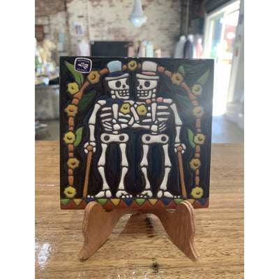 Day of the Dead Two Skeleton Grooms on Stand | Mexican Folk Art -Tile- Jade and May