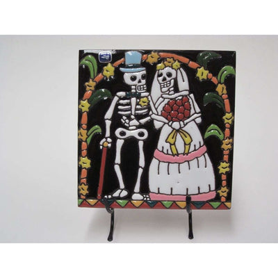 Day of the Dead Wedding on Stand | Mexican Folk Art -Tile- Jade and May