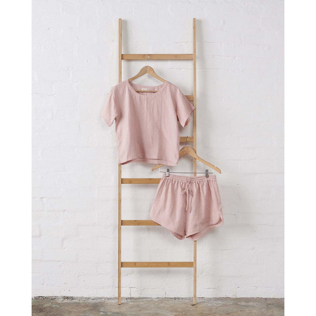 Dusky Rose Boxy Linen Pajama Top | Jade and May -Pajamas- Jade and May