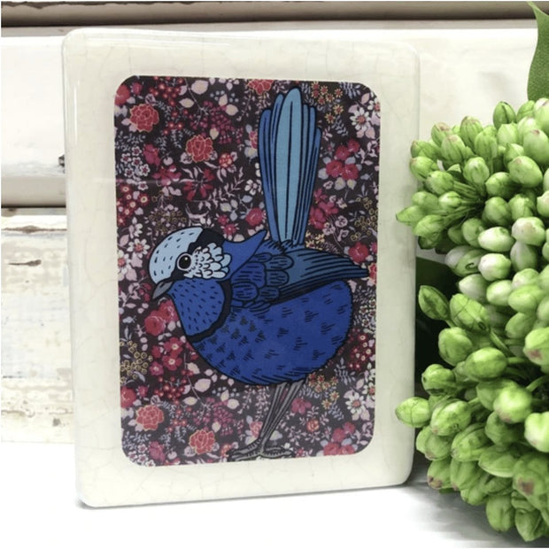 Fairy Wren Woodblock Art | Lost and Found Art Co -Art- Jade and May