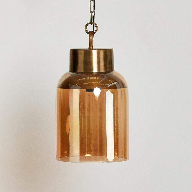 Glass Pendant Light in Brass | Saarde -Lighting- Jade and May