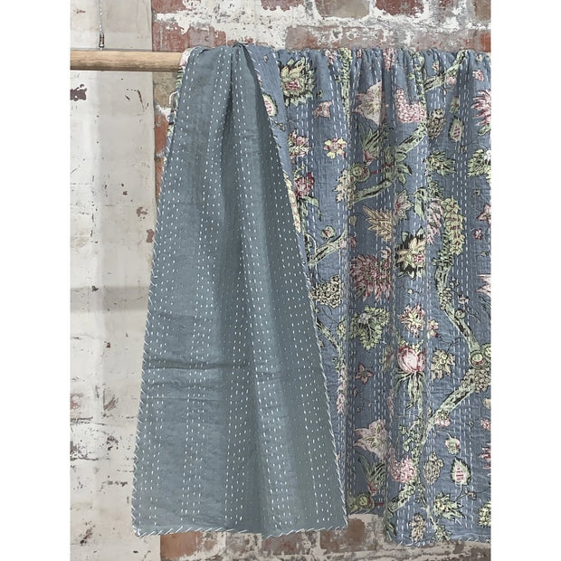 Grey Flora Patterned Kantha Quilt -Blankets and Throws- Jade and May