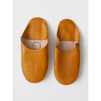 Traditional Moroccan Leather Babouche Slippers in a warm Ochre - Jade and May