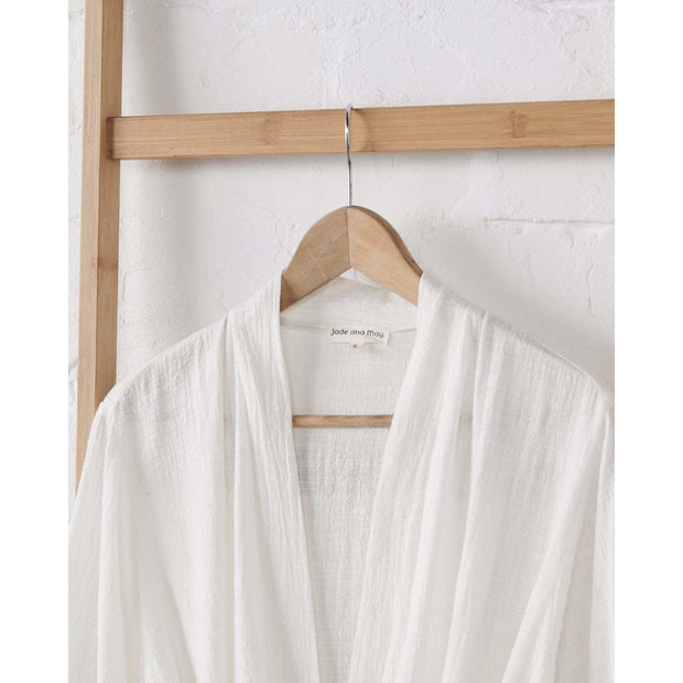 Jade and May - Textured 100% Cotton Kimono in Classic White -Kimono- Jade and May