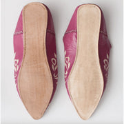 Leather Babouche Moroccan Slide on Pointed Slippers in Fuchsia and Natural -Slippers- Jade and May