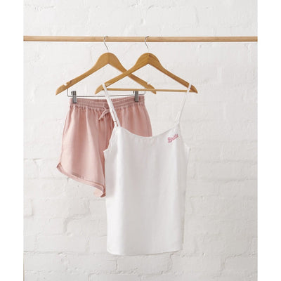 Linen Bridal Cami and Dusky Rose Short Set | Jade and May x Hooray Hoop Collab -Bridal Sleepwear- Jade and May