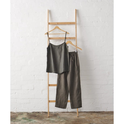 Linen Cami and Classic Pant Set in Charcoal | Jade and May -Pajamas- Jade and May