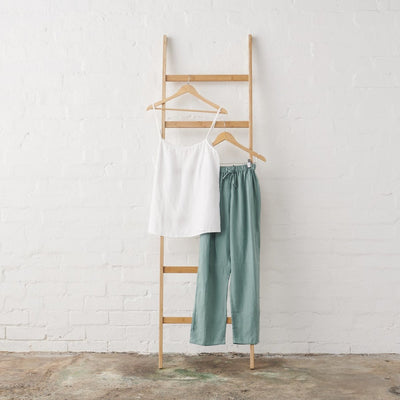 Linen Cami and Extra Length Pant PJ Set in White and Sage Green | Jade and May -Pajamas- Jade and May