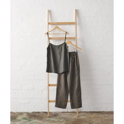 Linen Cami and Extra Length Pant Pyjama Set - Charcoal | Jade and May -Pajamas- Jade and May