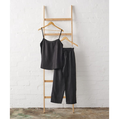 Linen Cami and Pant Set in Black - Extra Lenth Pant | Jade and May -Pajamas- Jade and May