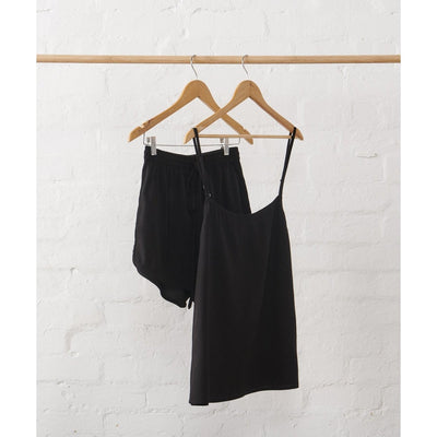 Linen Cami and Shorts Set in Black | Jade and May -Pajamas- Jade and May
