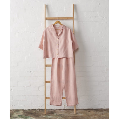 Linen Cropped Button Up and Classic Pant Set in Dusky Rose | Jade and May -Pajamas- Jade and May