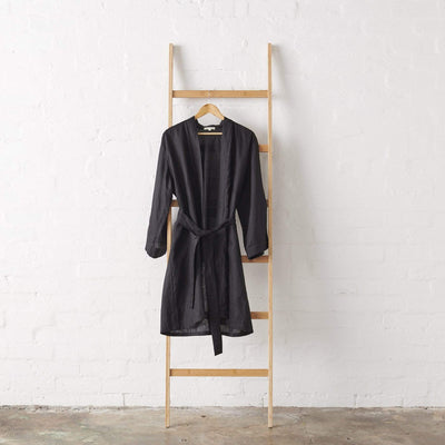 Linen Kimono Bathrobe - Black | Jade and May -Kimono- Jade and May