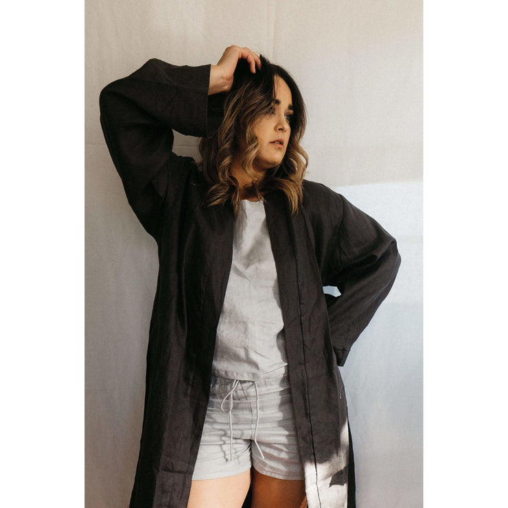Linen Kimono Bathrobe - Charcoal | Jade and May -Kimono- Jade and May