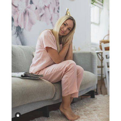 Linen Tee and PJ Pant Set in Dusky Rose | Jade and May -Pajamas- Jade and May