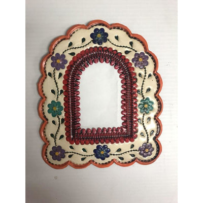 Mexican Tin Small Arch Floral Mirror -Mirror- Jade and May
