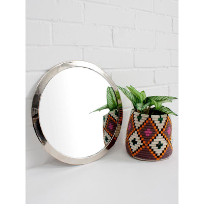 Moroccan Circle Mirror in White Brass -Mirror- Jade and May