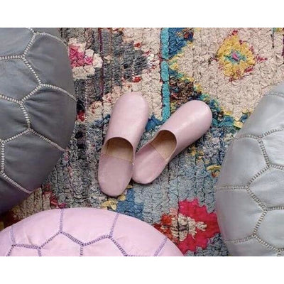 Moroccan Leather Babouche Slippers in Pink -Slippers- Jade and May