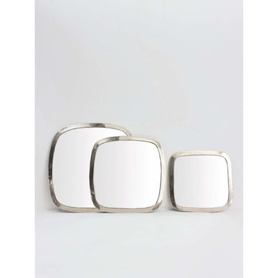 Moroccan White Brass Rounded Square Mirror | Jade and May -Mirror- Jade and May